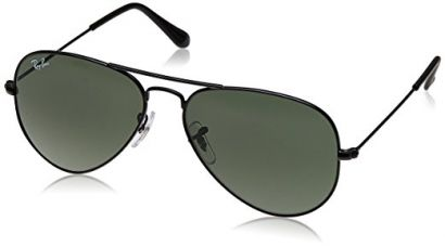 Buy Ray-Ban Aviator Sunglasses (Black) (RB3025|0065/55) from Amazon