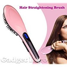 Gadget Hero's Fast Hair Straightening Brush For Silky Frizz-Free Hair. Professional Detangling Brush, Hair Styling Comb With Digital Lcd, Anti Static & Anti-Scald for Rs. 699