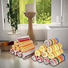 Magna 400 gsm Set of 20 Face Towels-MULTICOLOURED STRIPES for Rs. 399
