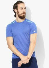 Buy Nike As Df Cool Tailwind Ss Blue Running Round Neck T-Shirt from Jabong