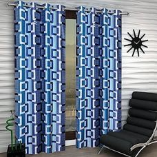 Buy Super India Polyester Brown Geometric Eyelet Window Curtain  (152 cm in Height, Single Curtain) for Rs. 399