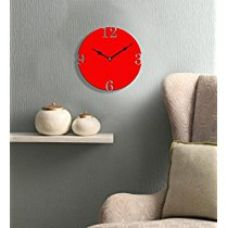 Sehaz Artworks Simple 4 Number Round Wooden Wall Clock (25.5 cm x 25.5 cm x 3 cm, Red) for Rs. 449
