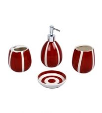 Buy Home Belle Red Ceramic Bathroom Accessories - Set of 4 from PepperFry
