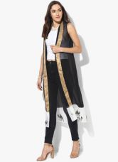 W Black Printed Crepe Blouse for Rs. 699