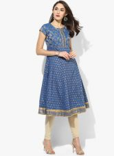 Buy Biba Blue Yarn Dyed Poly Cotton Anarkali Kurta from Jabong
