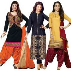 Flat 78% off on Buy One Get Two Free Crepe Unstitched Salwar Suit Prlt2001-2-3