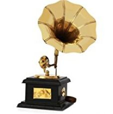 Jaipurcrafts Sparkle Square Gramophone Showpiece - 23 Cm (Brass, Brown, Gold) for Rs. 499