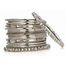 JDX Silver Plated Bangle Set For Women -Silver Size_2.6 for Rs. 199