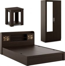 Flat 48% off on Spacewood Engineered Wood Bed + Side Table + Wardrobe  (Finish Color - Vermount)