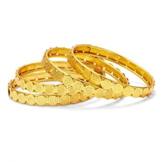 Flat 89% off on Mansiyaorange Traditional Fancy Designer Casual Party Wedding Wear Original Hand Work One Gram Gold Four Godess Laxmi Coin Golden Bangles For Women