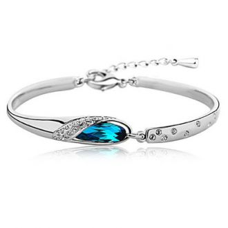 Om Jewells Blue Platinum Plated & Crystal Kada Bangle For Women BR1000001 for Rs. 139