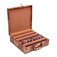 Kuber Industries Golden Wood 4 Rods Bangle Box for Rs. 725