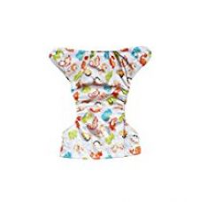 Soft Baby Reusable babysoft Cloth Diaper with Microfiber Inserts - White Multicolour Dinosaurs Pattern for Rs. 579