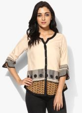 Get 50% off on W Beige Printed Rayon Blouse
