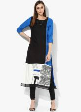 Buy W Black Printed Rayon Kurta from Jabong
