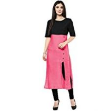 Buy Vatsla Enterprise Women's Cotton Kurti (VFBAwester_Pink and Black_f) from Amazon