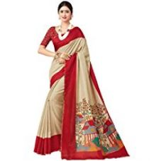 Buy Miraan Women's Linen Saree With Blouse Piece (Srh008_Red) from Amazon