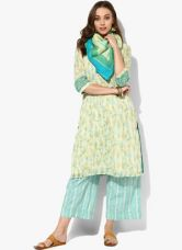 Flat 40% off on Biba Beige Printed Cotton Palazzo Kameez Dupatta