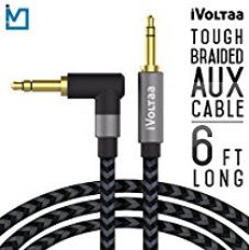 Buy iVoltaa 3.5mm Braided 6 Ft. Long Aux (Auxiliary) Audio Cable With Right Angled Jack (90 Degree) For Apple / Android (Space Black) from Amazon