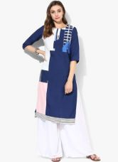Buy W Blue Printed Polyester Kurta from Jabong