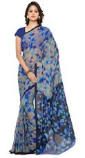 Buy Vaamsi Women's Chiffon Saree With Blouse Piece (Rc3230_Blue) from Amazon