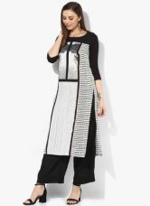 Flat 50% off on W White Printed Polyester Kurta