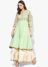 Flat 40% off on Biba Green Embroidered Polyester Cotton Anarkali Kurta