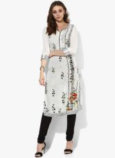 Biba White Printed Viscose Kurta for Rs. 660