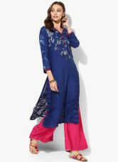 Buy Biba Blue Printed Viscose Kurta for Rs. 780