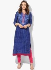 Buy Biba Navy Blue Printed Viscose Kurta for Rs. 780