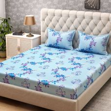 Buy Bombay Dyeing Cotton Floral Double Bedsheet  (1 Double Bedsheet + 2 Pilow Cover, Blue) from Flipkart
