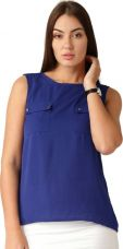 Flat 70% off on ether Casual Sleeveless Solid Women's Blue Top