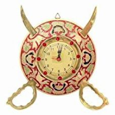 Little India Rajasthani Real Brass Sword Armour Wall Clock (107, Brown) for Rs. 369