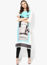 Get 50% off on W Blue Printed Polyester Kurta