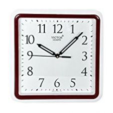 Buy Victor Plastic Analog Wall Clock (26 cm x 26 cm x 5 cm, Maroon) from Amazon