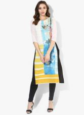 Get 50% off on W White Printed Cotton Blend Kurta