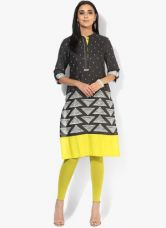 Buy W Black Printed Cotton Blend Kurta for Rs. 850