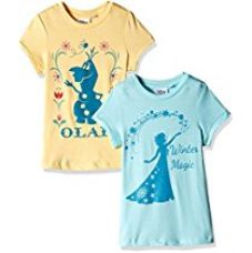 Buy Frozen Girls' T-Shirt (Pack of 2) from Amazon