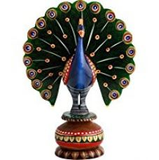 Buy Pindia 'Dancing Peacock' Painted Wooden Showpiece (5 cm x 5 cm x 10 cm) from Amazon