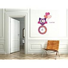 Buy Syga Owl PVC Vinyl Wall Clock (35 cm x 17 cm x 5 cm) from Amazon