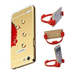 Aart Luxury Metal Bumper + Acrylic Mirror Back Cover Case For OppoNeo7 Gold+ Flexible Portable Mount Cradle Thumb OK Designed Stand Holder for Rs. 399