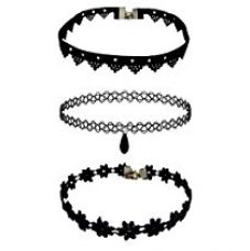 Buy Amser Black Fabric Set Of 3 Chocker Necklace For Women from Amazon