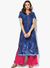 Flat 40% off on Biba Blue Printed Viscose Kurta