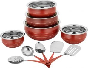 Classic Essentials red handi set with 5 serving tool Induction Bottom Cookware Set  (Stainless Steel, 10 - Piece) for Rs. 559