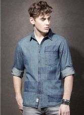 Buy Blue Washed Demin Shirt for Rs. 680