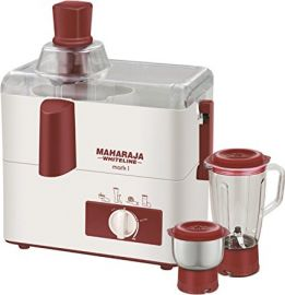 Buy Maharaja Whiteline Mark 1 Happiness 450-Watt Juicer Mixer Grinder (White and Red) from Amazon