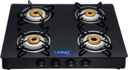 Buy Surya Accent Glass Manual Gas Stove  (4 Burners) for Rs. 2,899