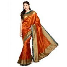 Buy Parchayee Beige Polycotton, Mysore Silk Plain Saree Without Blouse from ShopClues