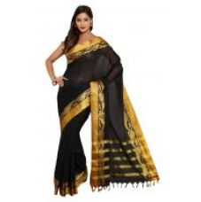 Buy Parchayee Black Cotton Plain Saree With Blouse for Rs. 929