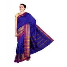 Parchayee Solid Blue Mysore Polycotton Uppada Saree 94902B for Rs. 829
